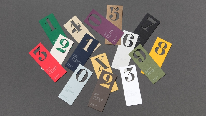 The numbers 0 to 9 on coloured pieces of paper from the Fedrigoni calendar by Nixon Design.